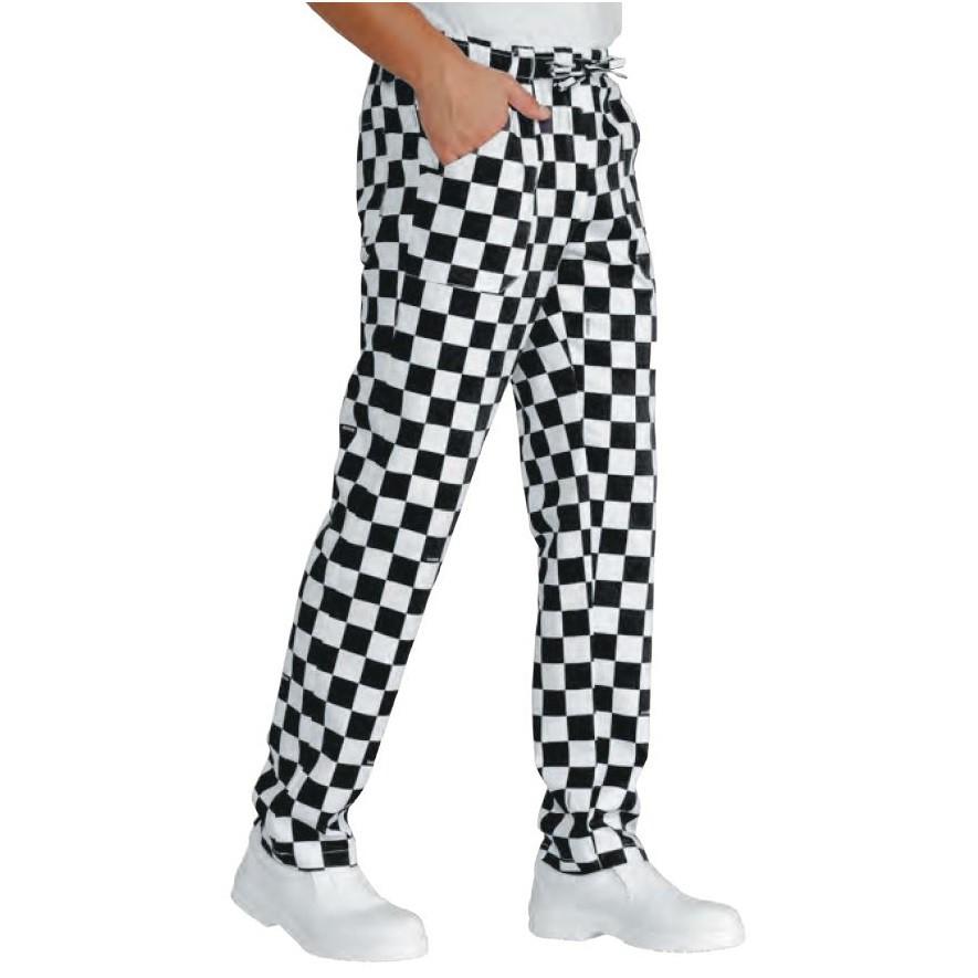 Pantalon de cuisine damier noir et blanc isacco scacco for Pantalon de cuisine noir