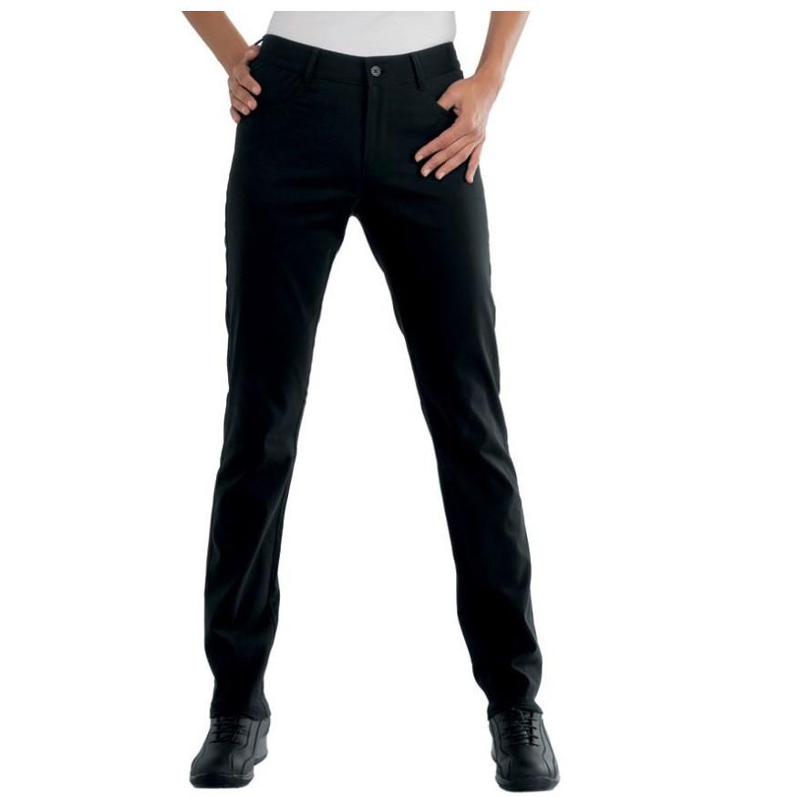 Pantalon de travail femme noir isacco pantalone margarita for Pantalon de cuisine noir