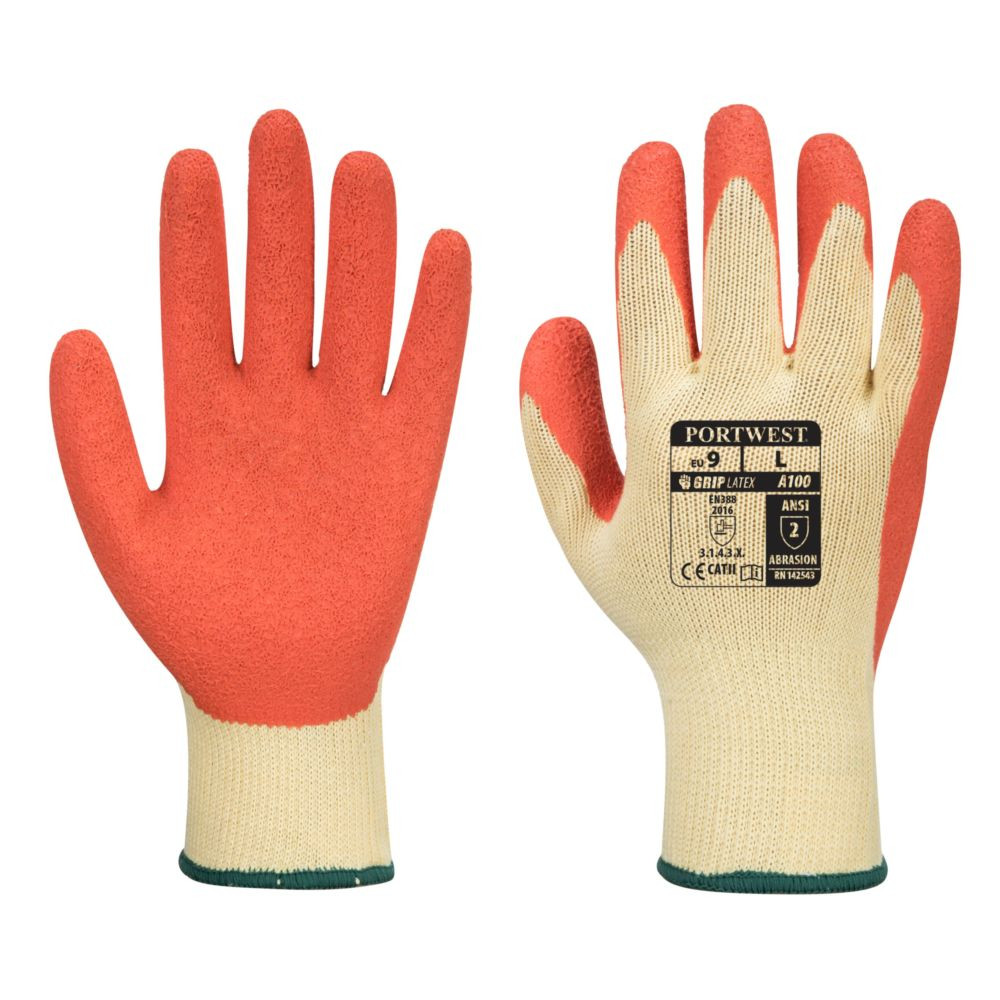 Gants de manutention Portwest ENDUIT LATEX - Jaune Orange