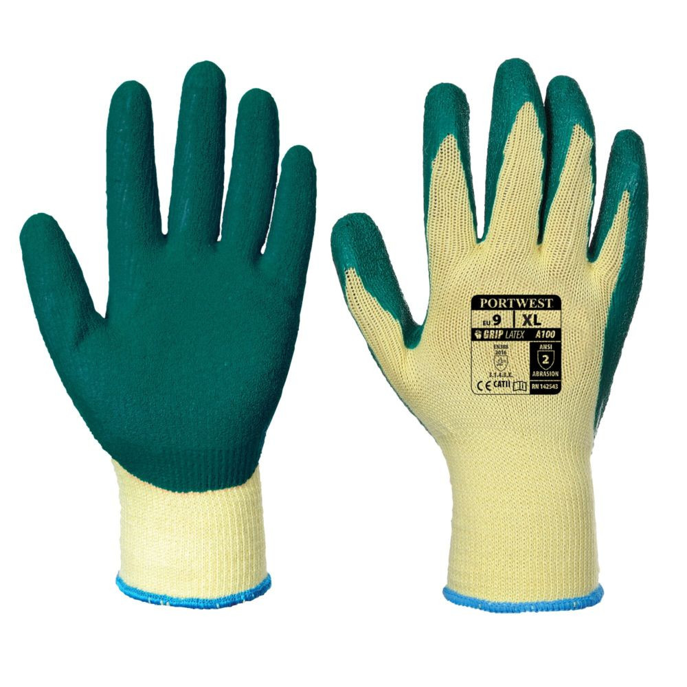 Gants de manutention Portwest ENDUIT LATEX - Jaune Vert