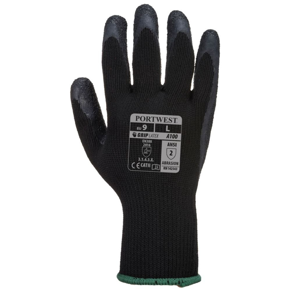 Gants de manutention Portwest ENDUIT LATEX noir 1