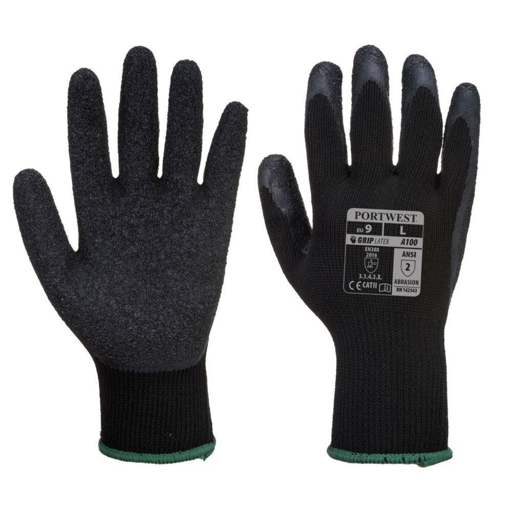 Gants de manutention Portwest ENDUIT LATEX - Noir