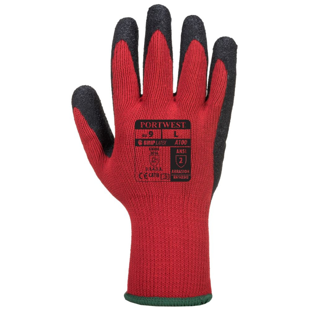 Gants de manutention Portwest ENDUIT LATEX - Rouge / Noir