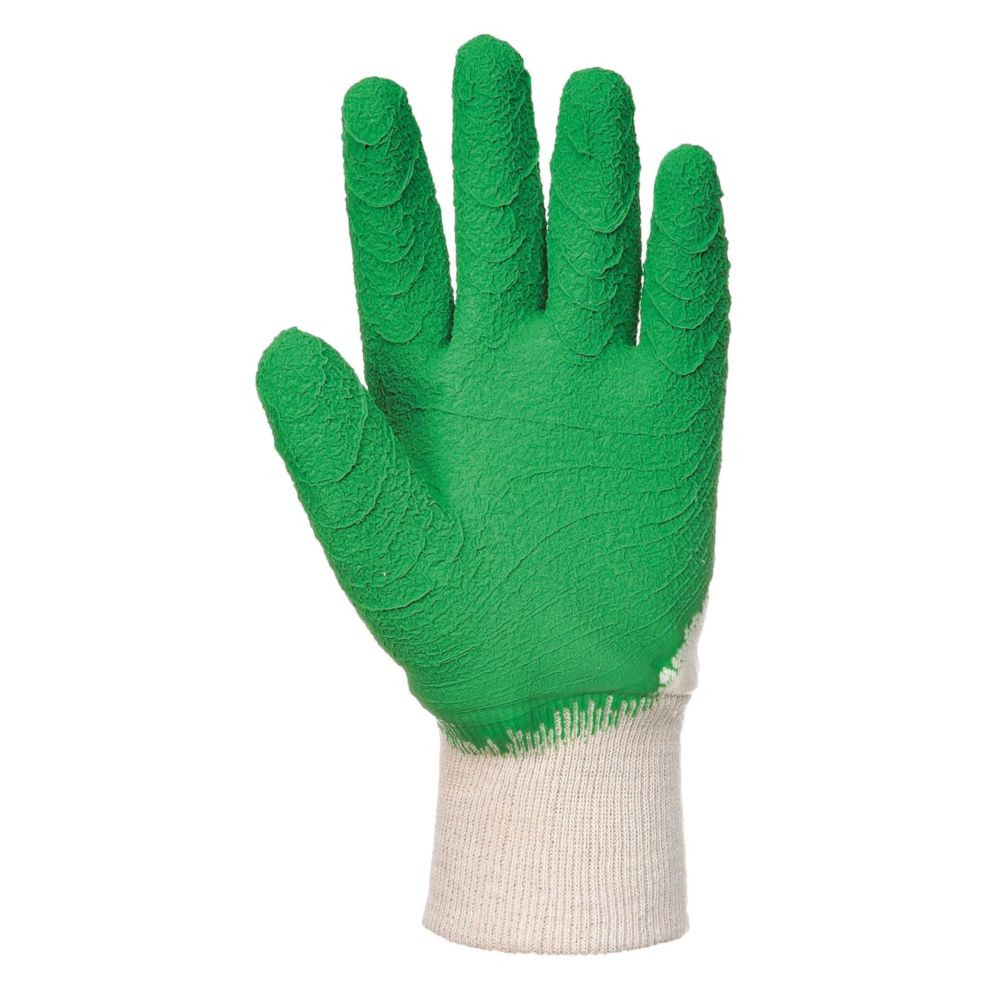 Gants de manutention Portwest LATEX CRÊPÉ DOS AÉRÉ Blanc / Vert 1