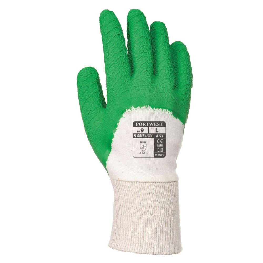 Gants de manutention Portwest LATEX CRÊPÉ DOS AÉRÉ Blanc / Vert 2