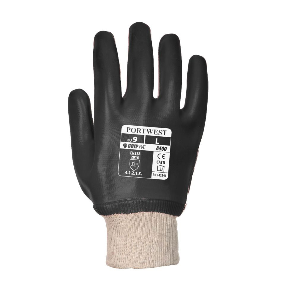 Gants de manutention PVC Portwest POIGNET TRICOT noir 1