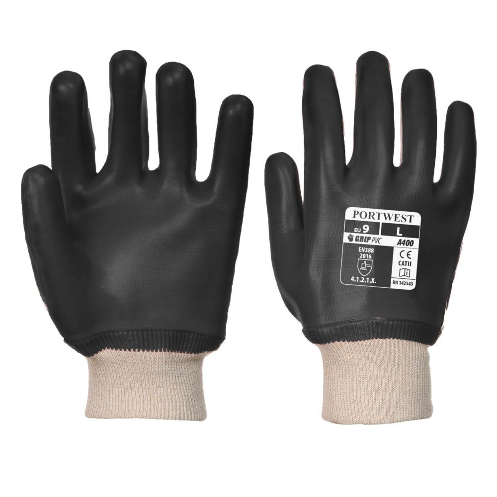 Gants de manutention PVC Portwest POIGNET TRICOT - Noir