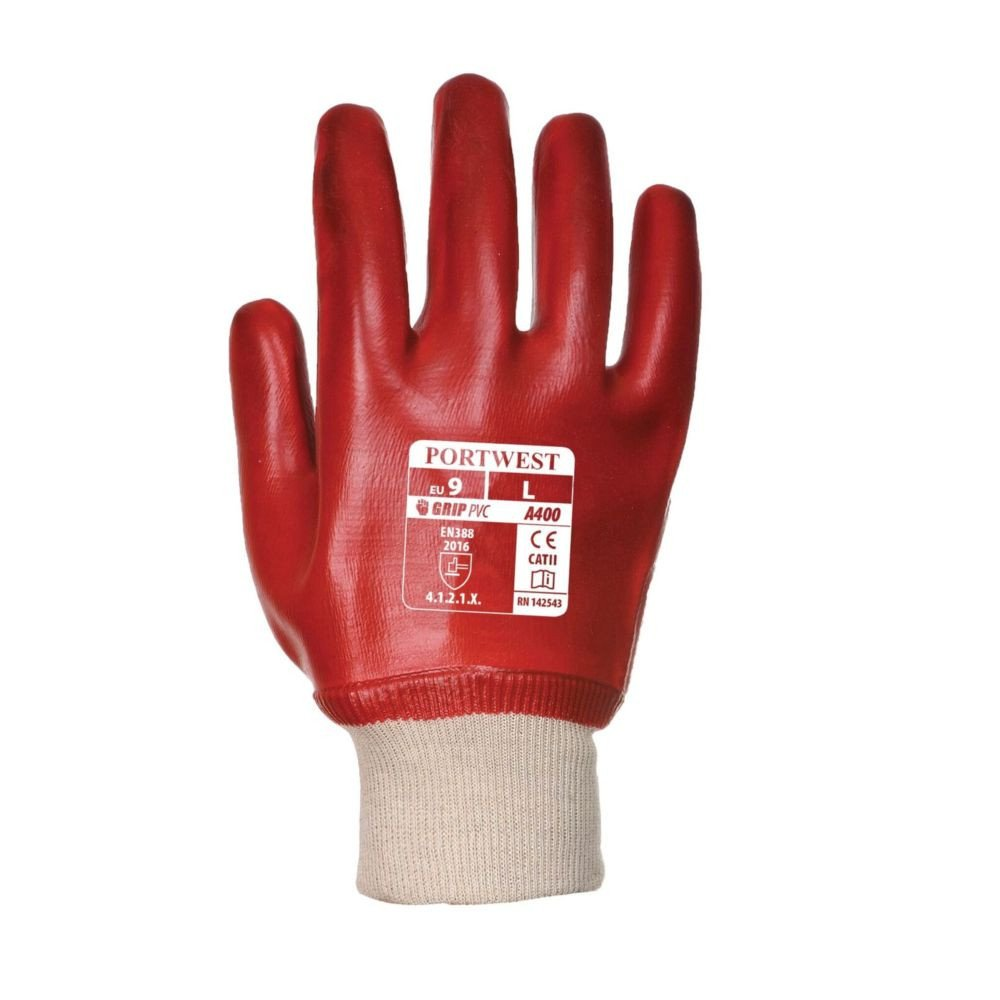 Gants de manutention PVC Portwest POIGNET TRICOT rouge 1