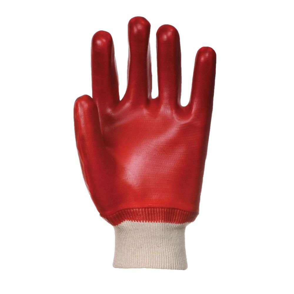 Gants de manutention PVC Portwest POIGNET TRICOT rouge 2
