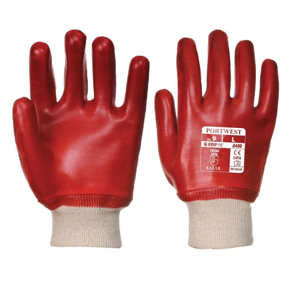 Gants de manutention PVC Portwest POIGNET TRICOT - Rouge