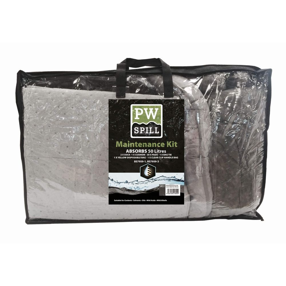 Lot de 3 kits d'absorbants de maintenance 50 litres Portwest -  Kit d'absorbants de maintenance 50 litres Portwest Gris
