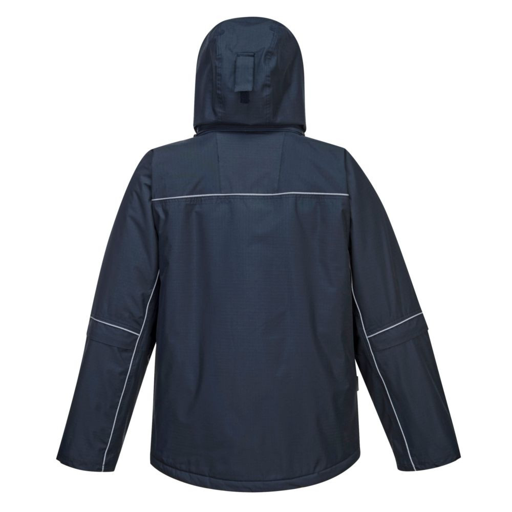 Parka imperméable multipoches Portwest rip stop - Parka imperméable multipoches Portwest Rip Stop Marine Dos