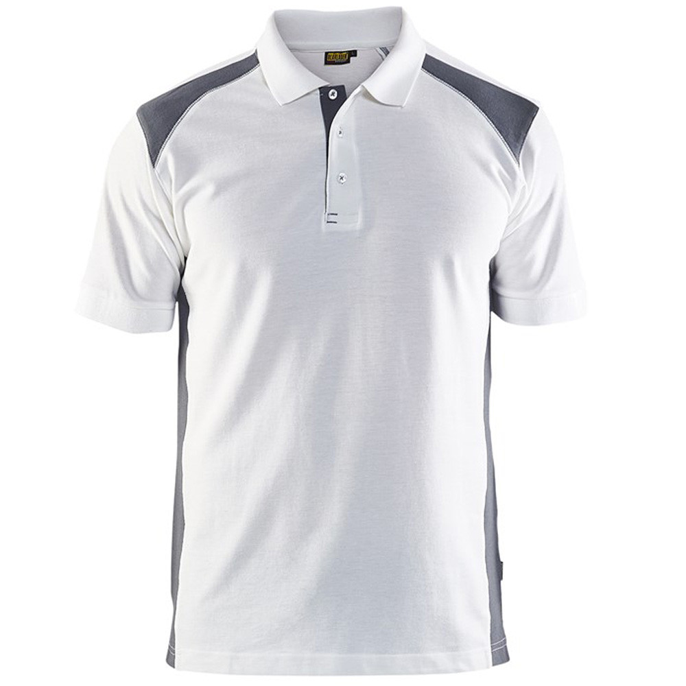 Polo Blaklader maille piqué Homme - Blanc Epaule grise