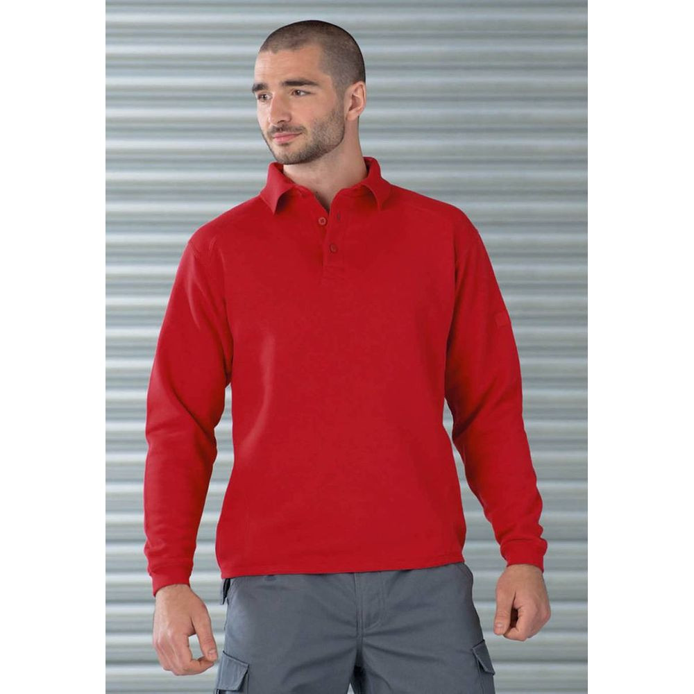Sweat-shirt de travail col polo Russell Rouge 1