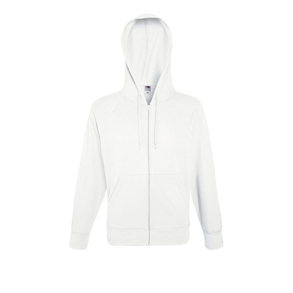 Sweat-shirt léger à capuche zippé Fruit Of The Loom Lightweight Hooded blanc