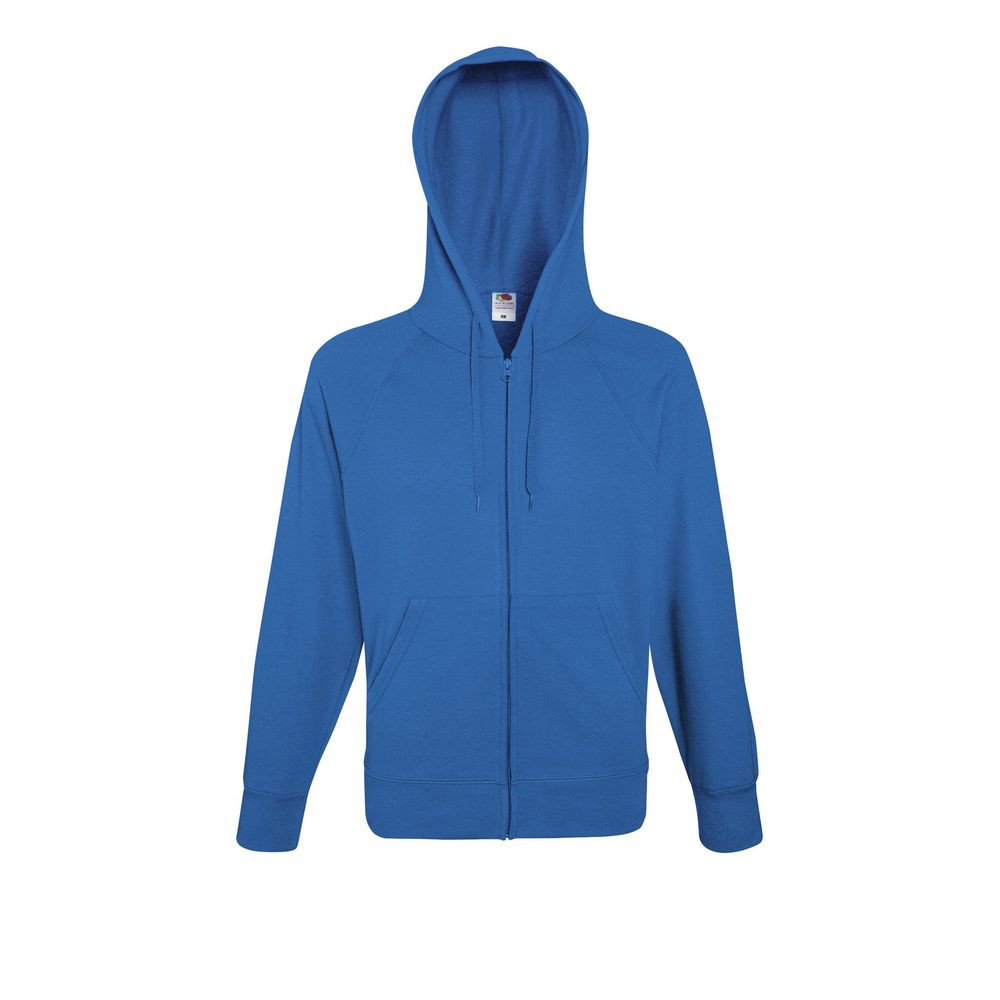Sweat-shirt léger à capuche zippé Fruit Of The Loom Lightweight Hooded bleu royal