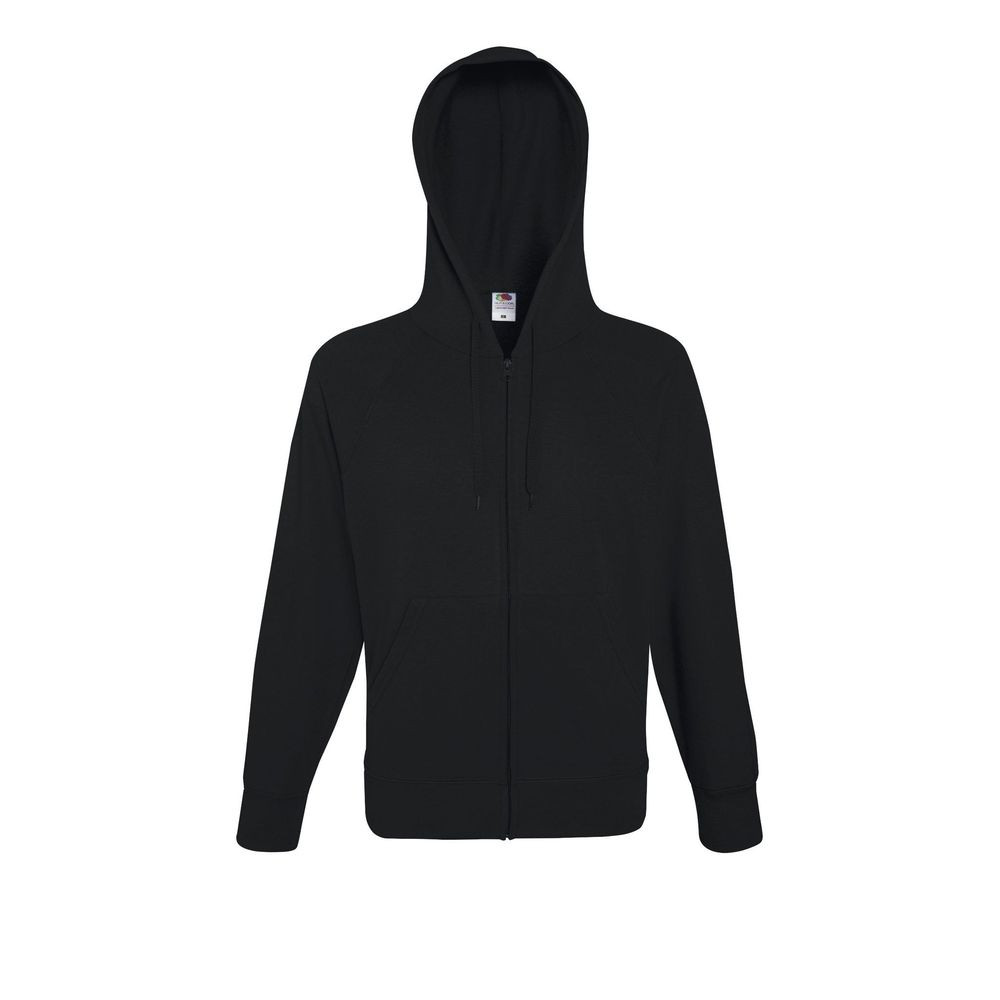 Sweat-shirt léger à capuche zippé Fruit Of The Loom Lightweight Hooded noir