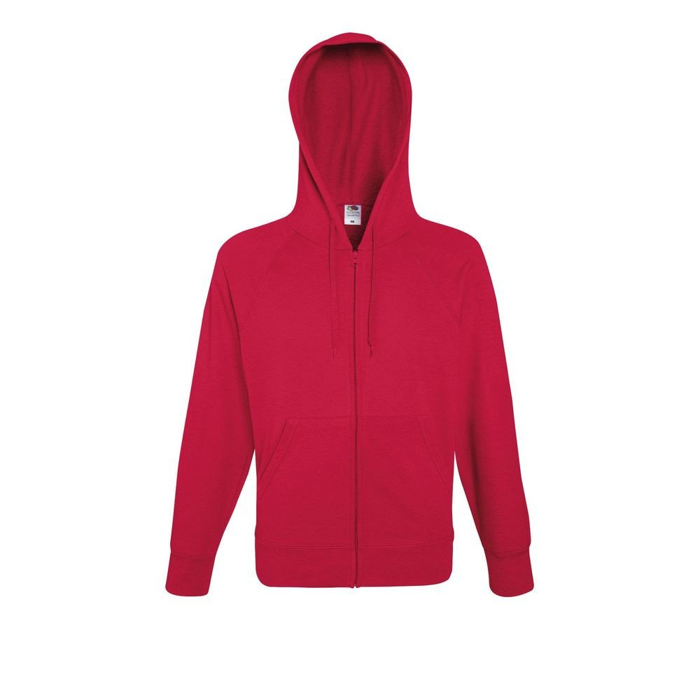 Sweat-shirt léger à capuche zippé Fruit Of The Loom Lightweight Hooded rouge
