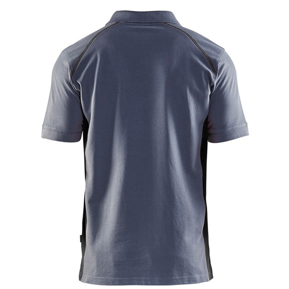 Polo Blaklader maille piqué Homme Gris Epaules Noires dos