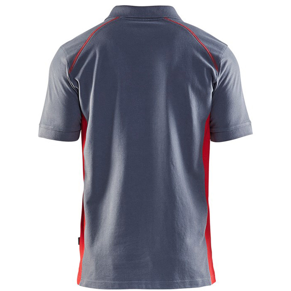 Polo Blaklader maille piqué Homme gris épaule rouge dos