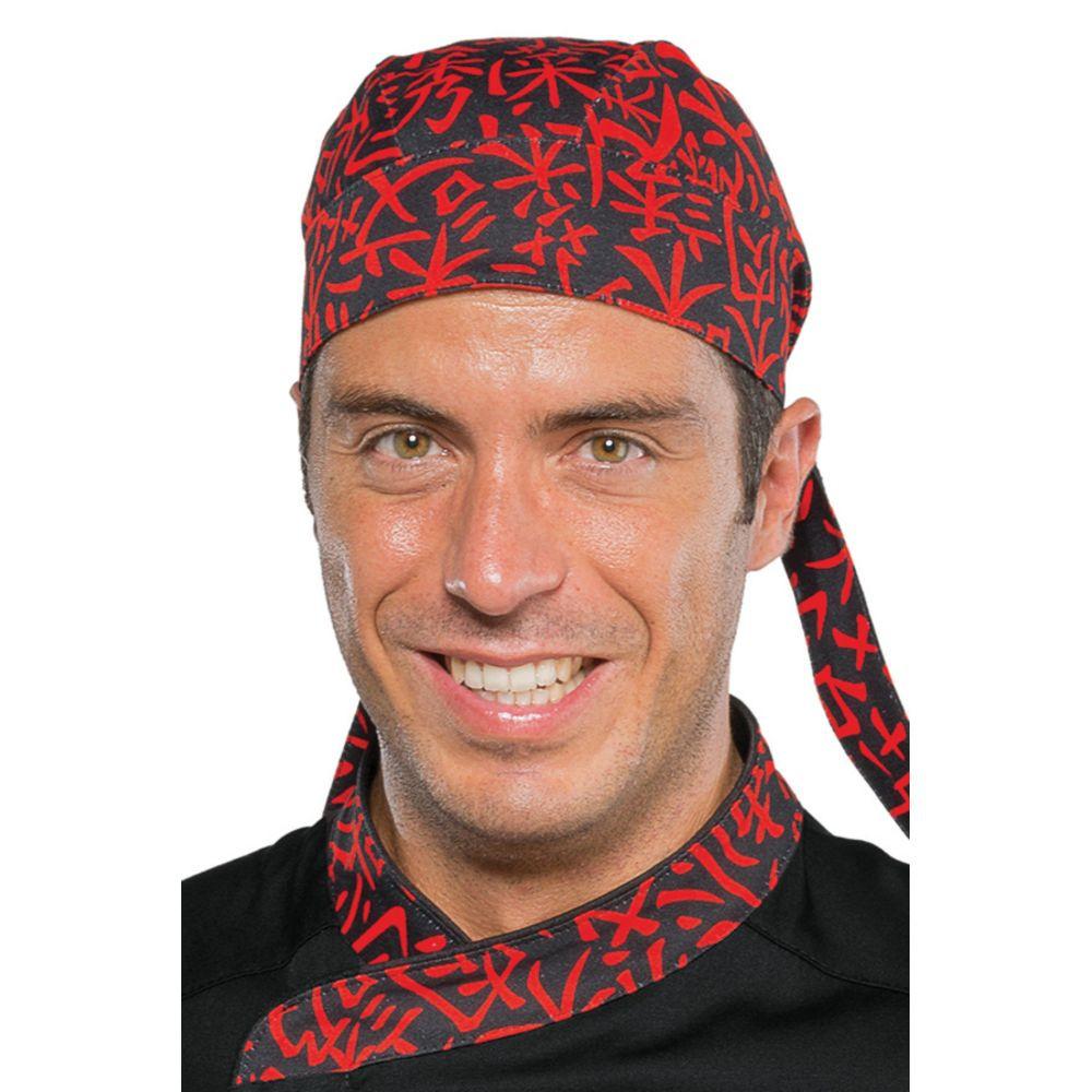 Bandana de cuisine Japoanais Isacco Sushi noir et rouge - Noir / Rouge