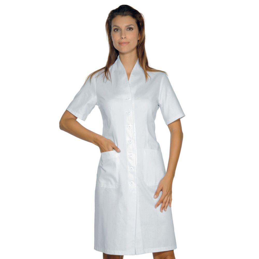 Blouse blanche laboratoire femme Col V Isacco Lugano manches courtes