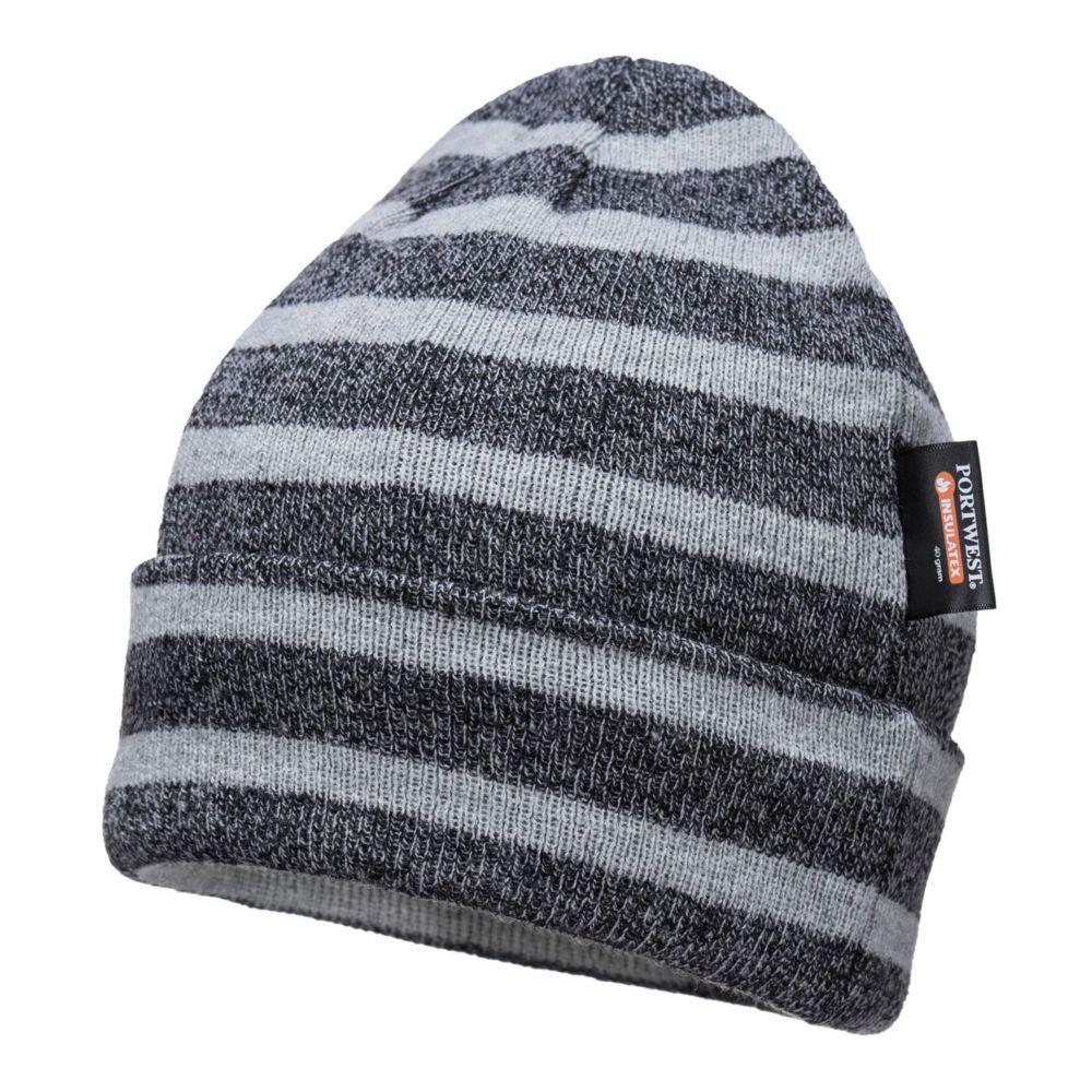 Bonnet tricoté à rayures Portwest Insulatex - Gris