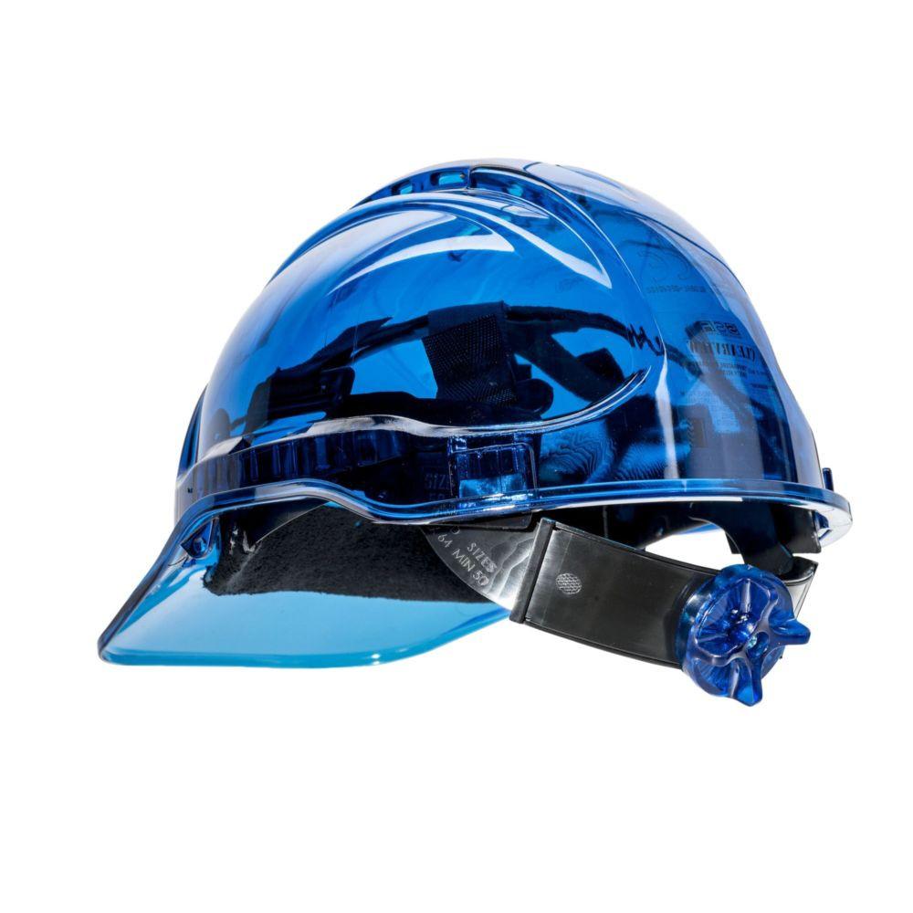 Casque de chantier translucide ventilé Portwest Peak View à crémaillère - Bleu