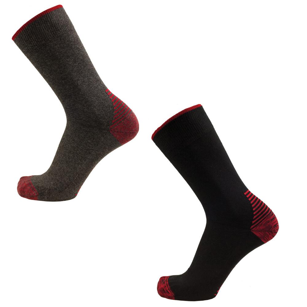 Chaussettes de travail coton LMA ARES (Lot de 2 paires) - ROUGE / NOIR