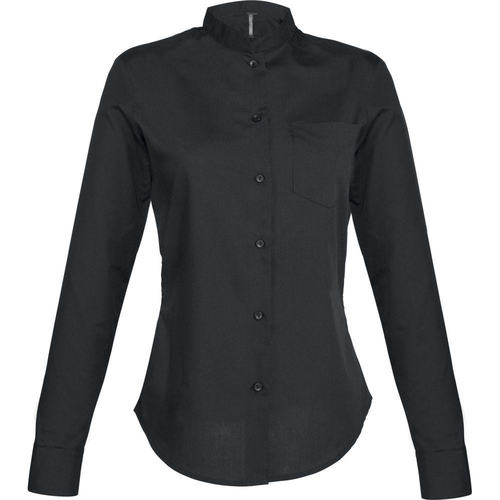 Chemise de travail manches longues col mao femme Kariban - Noir
