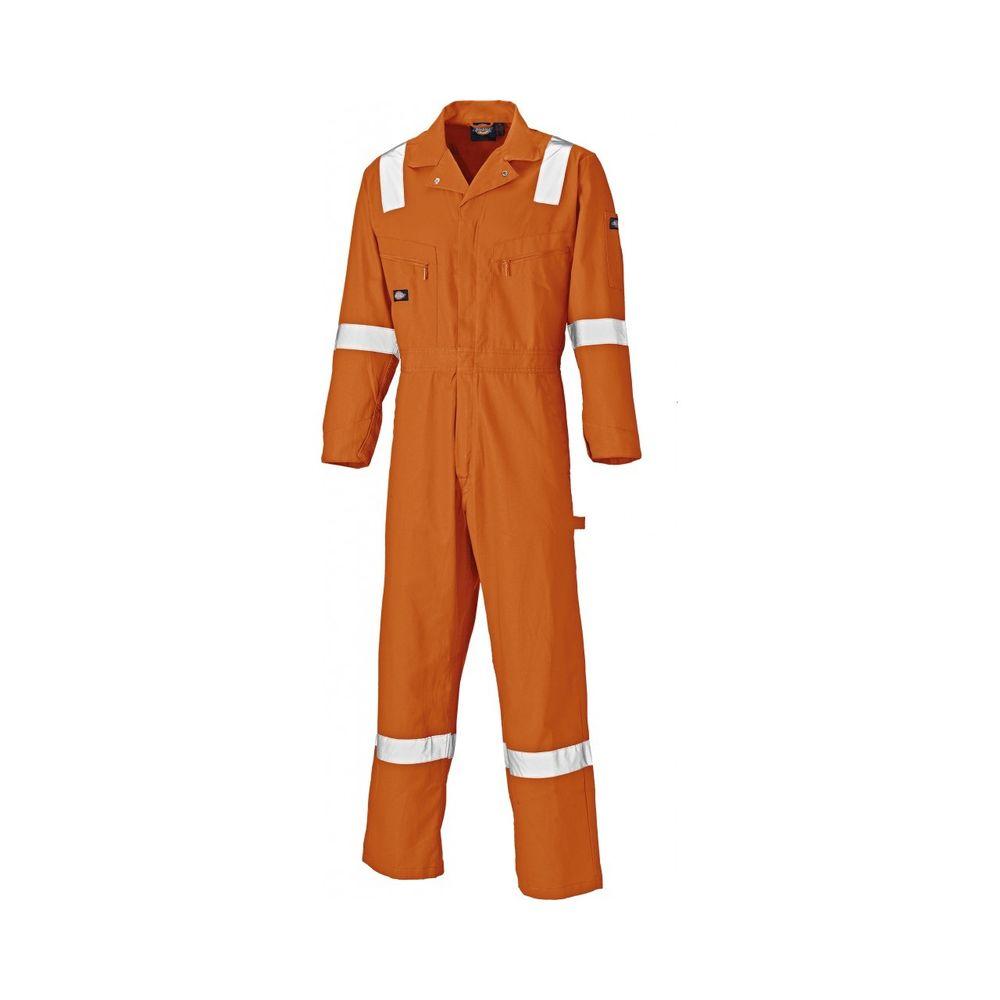 Combinaison de travail Dickies 100% coton avec bandes rétro réflechissantes - Orange