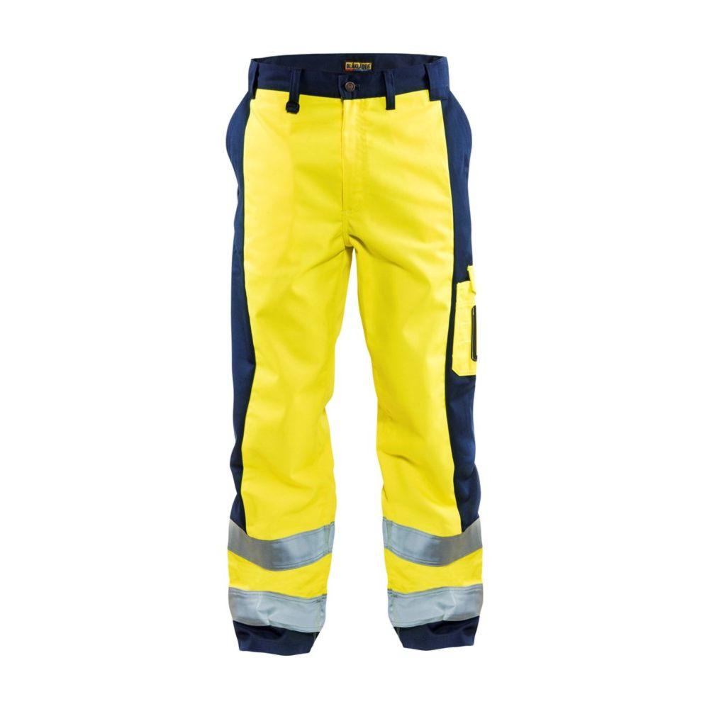 Pantalon de travail haute visibilité Blaklader polycoton - Jaune / Marine