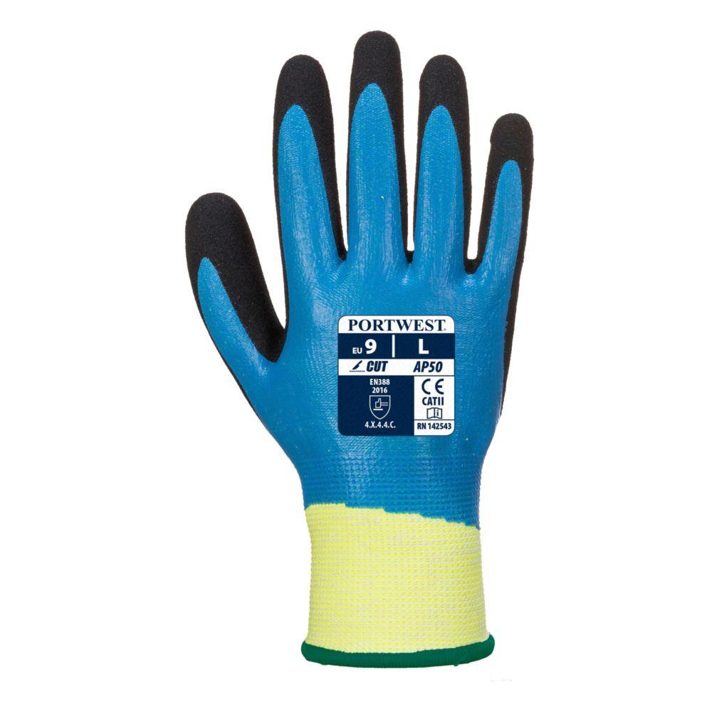 Gant anti coupure Portwest Aqua Cut Pro - Noir / Bleu