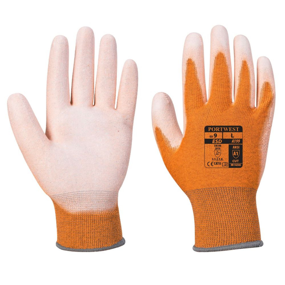 Gants antistatiques Portwest paume enduit PU A199 - Orange