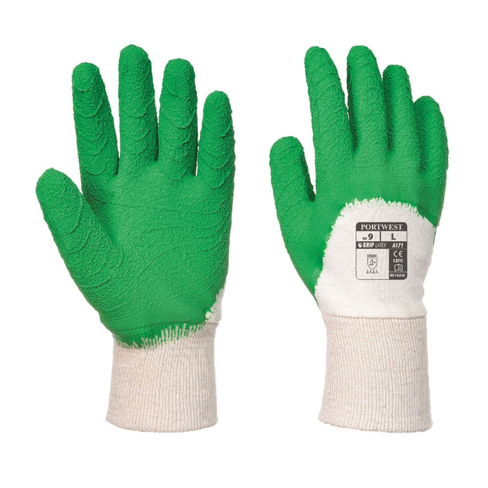 Gants de manutention Portwest LATEX CRÊPÉ DOS AÉRÉ - Blanc / Vert