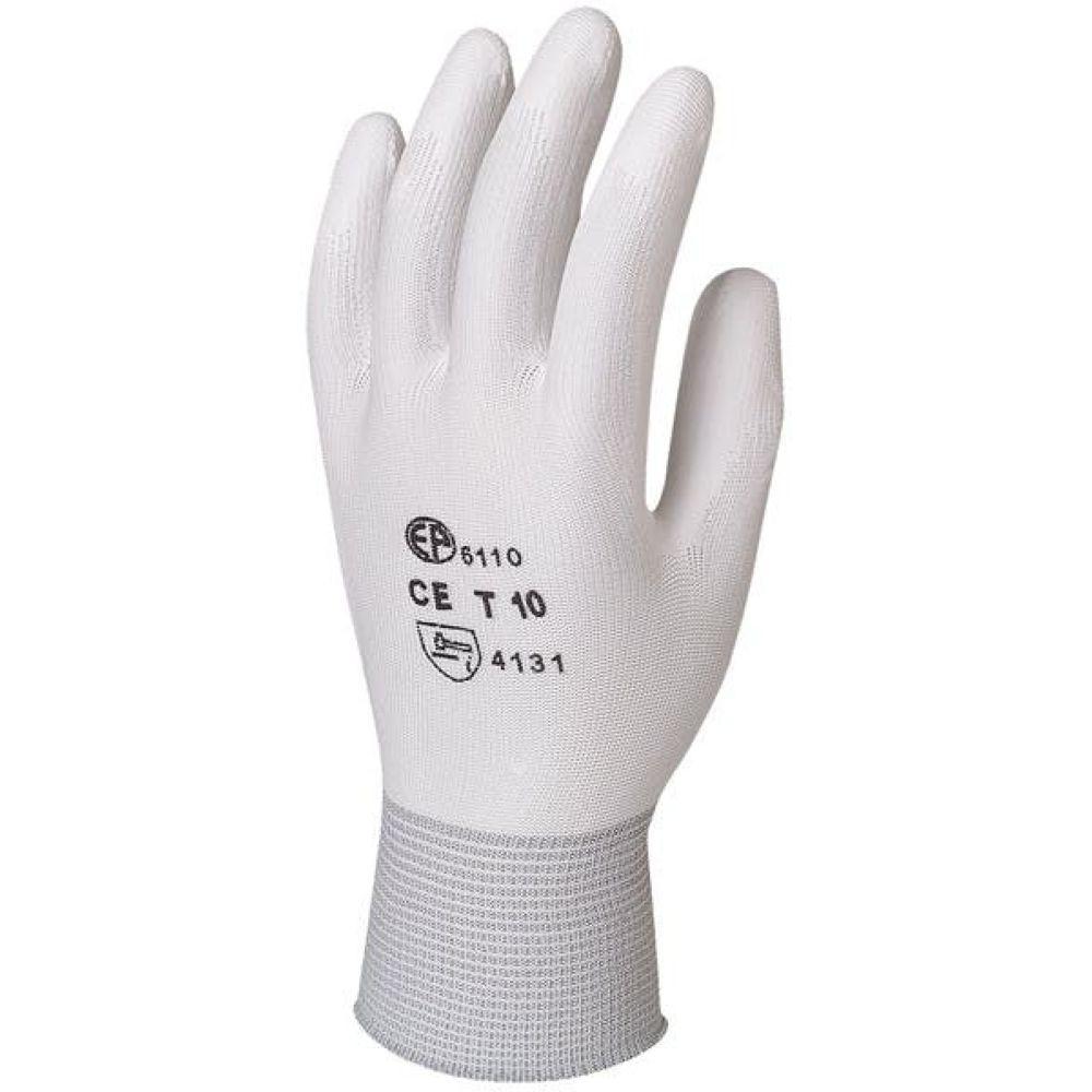 Gants de travail précision Polyester enduit PU Eurotechnique 611 (lot de 10 paires de gants) - Blanc