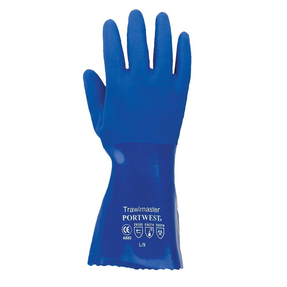 Gants PVC manchette 30cm Portwest - Bleu