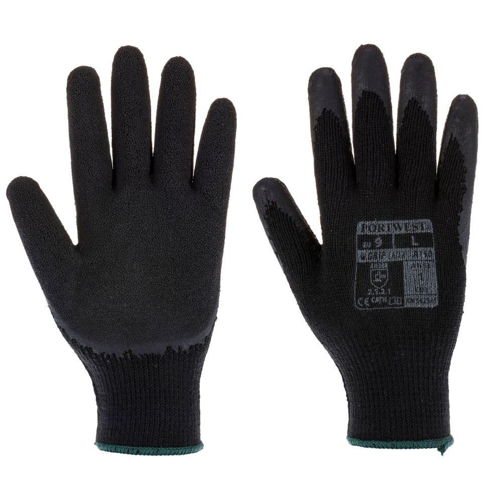Gants tricoté Portwest enduit Latex Fortis A150 - Noir / Noir