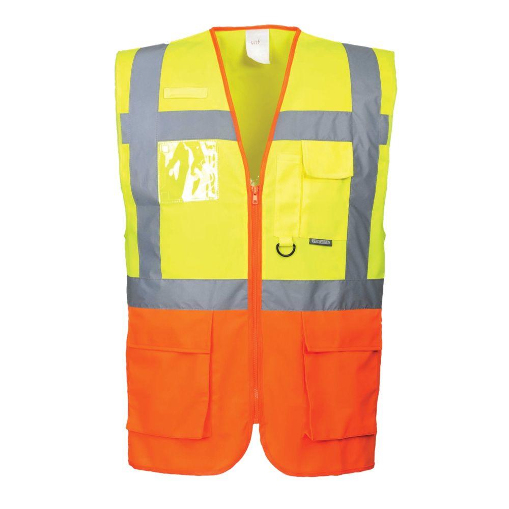 Gilet haute visibilité zippé Portwest Executive Prague - Jaune / Orange