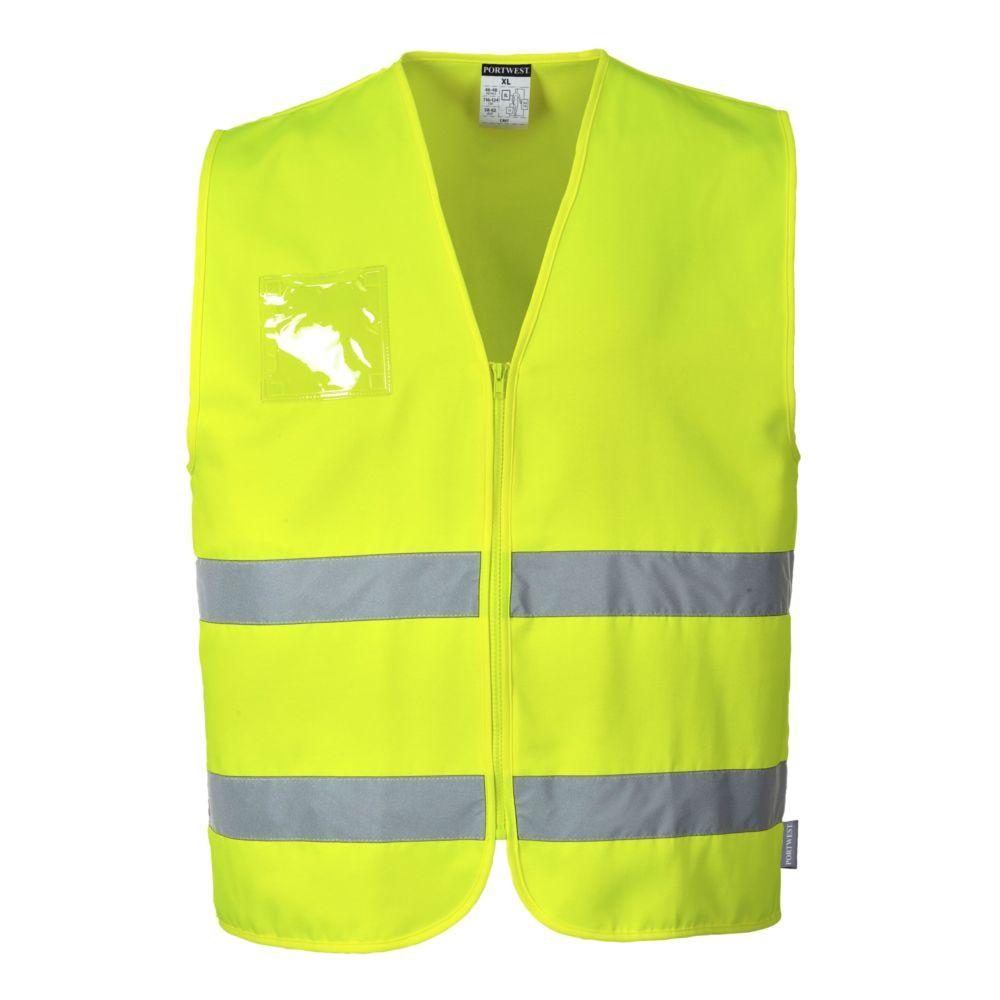 Gilet haute visibilité zippé Portwest porte badge - Jaune
