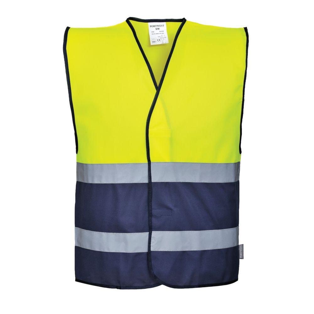 Gilet sécurité haute visibilité Portwest bicolore - Jaune / Bleu Marine