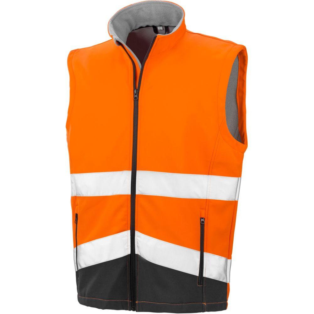 Gilet sans manches haute visibilité Softshell Result HIGH VIZ - Orange / Noir