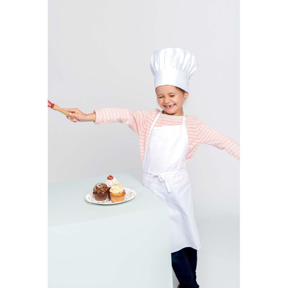 Kit de chef Kariban tablier de cuisine enfant toque - Kit de chef cuisinier enfant Kariban blanc porté