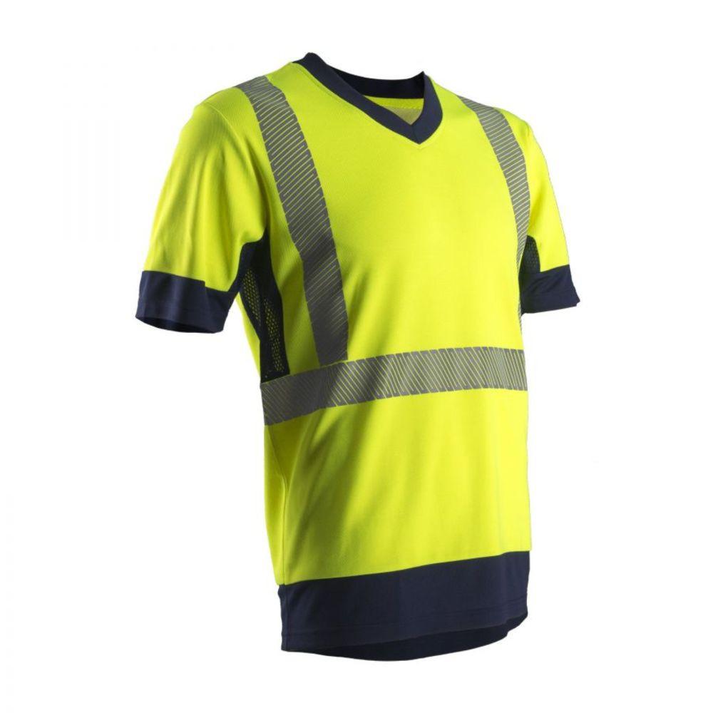 T-shirt haute visibilité manches courtes Coverguard KOMY coton majoritaire - Jaune / Marine