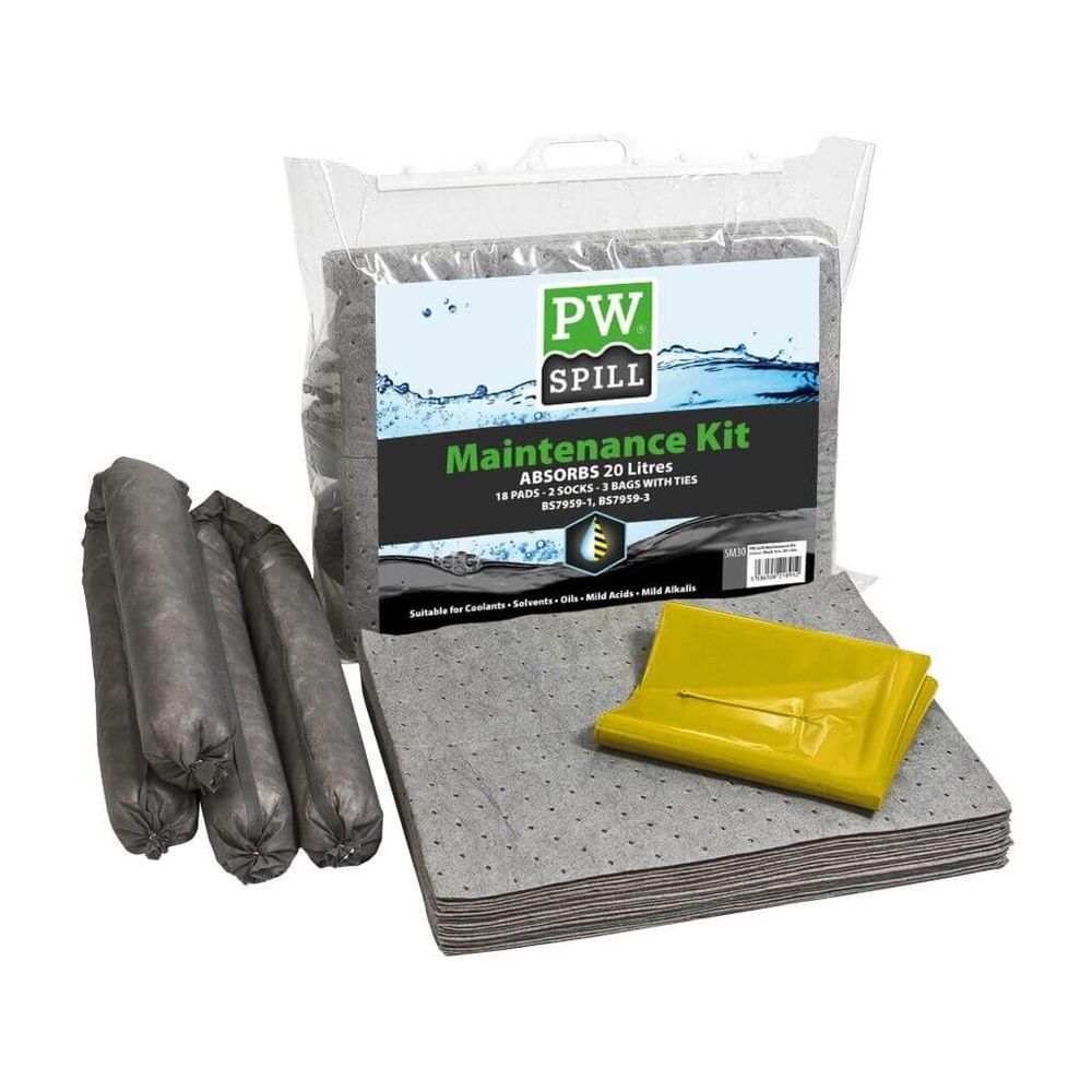 Lot de 6 kits Portwest pour déversement de 50 litres d'huile maximum -  Kit d'absorbants de maintenance 20 litres Portwest Gris