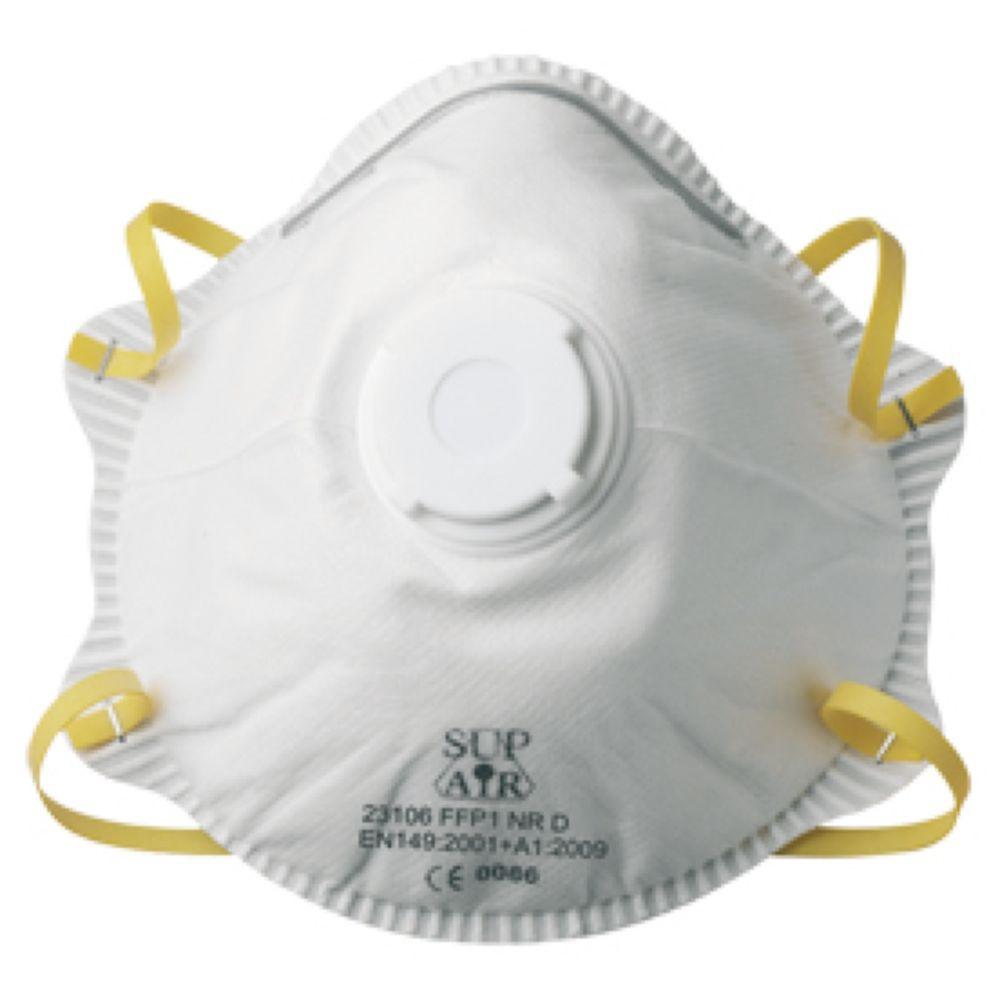 Masque coque Sup Air à usage unique FFP1 D SL avec valve (boite de 10) - Blanc