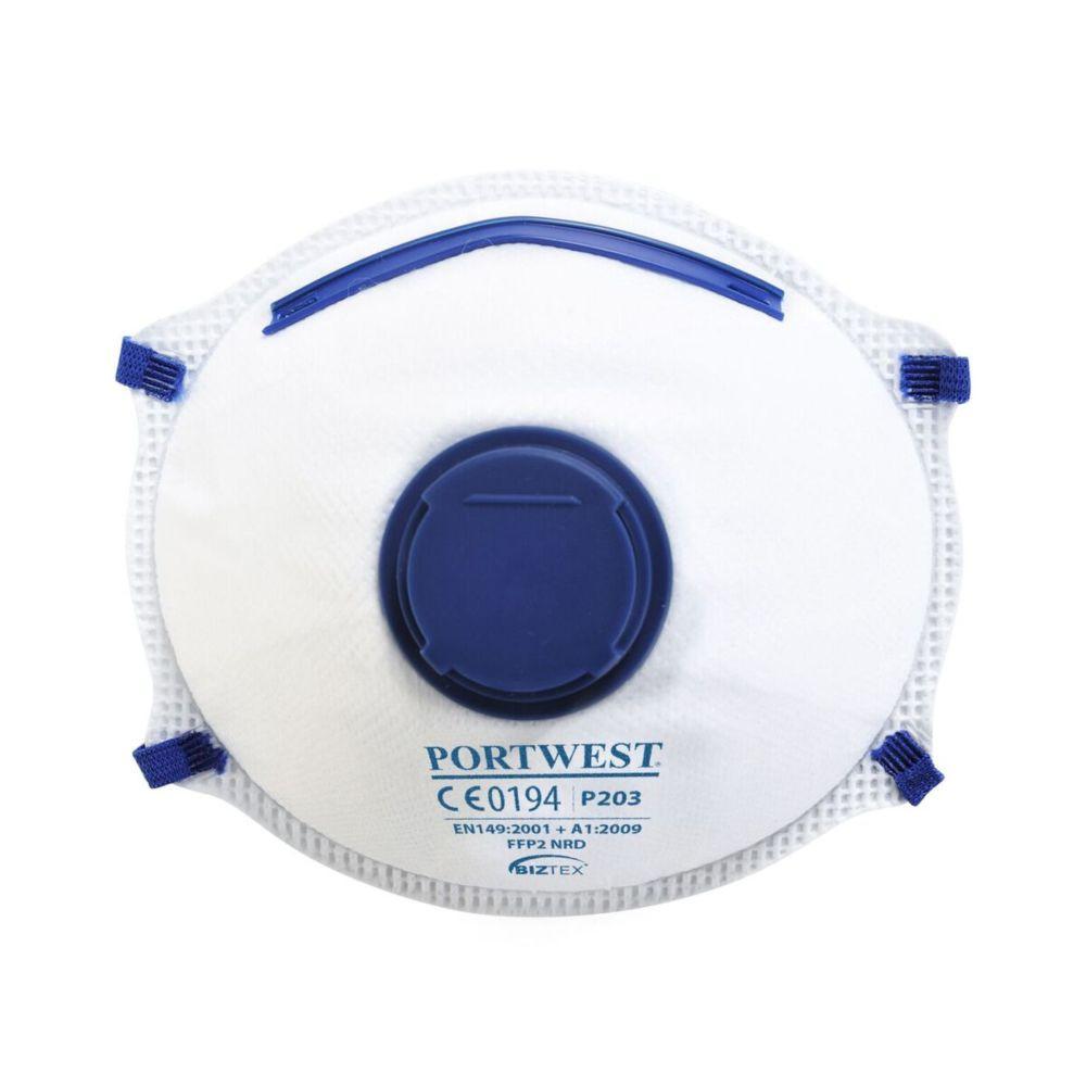 Masque respiratoire avec valve Portwest FFP2 NR D DOLOMITE (boite de 10 masques) - Blanc