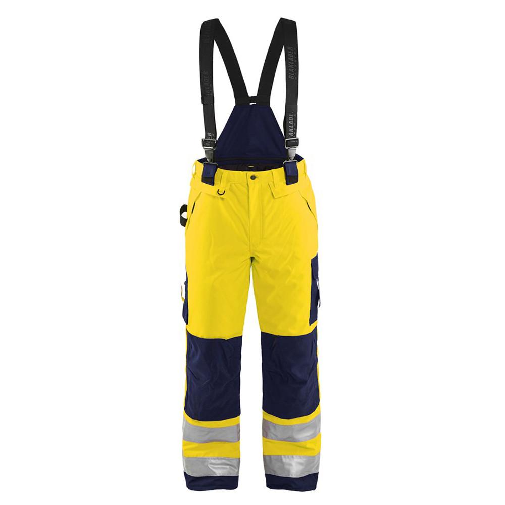 Pantalon à bretelles imperméable haute visibilité Blaklader hiver - Jaune / Marine