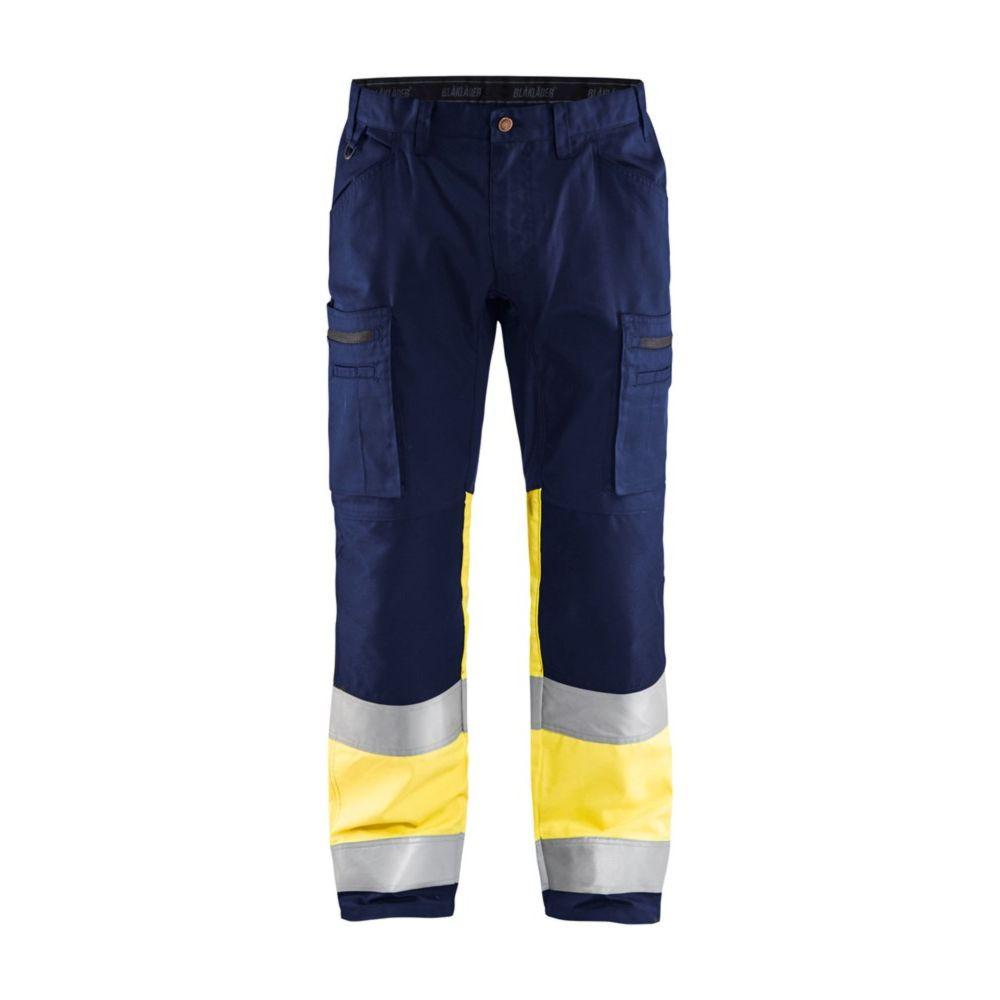 Pantalon artisan haute visibilité Blaklader +STRETCH - Marine / Jaune