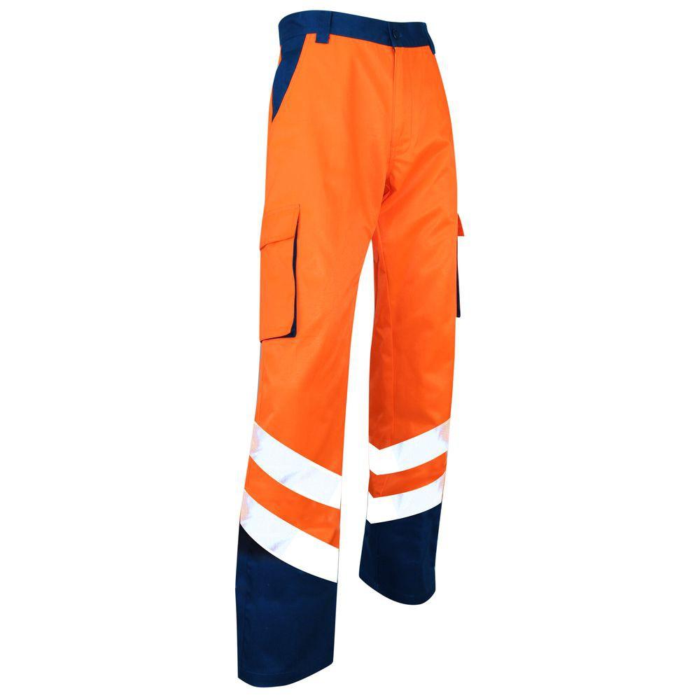Pantalon bicolore haute visibilité LMA Balise - Pantalon bicolore haute visibilité zéro métal LMA Balise Orange/Bleu